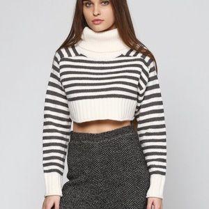 ZARA striped cropped chunky knit sweater